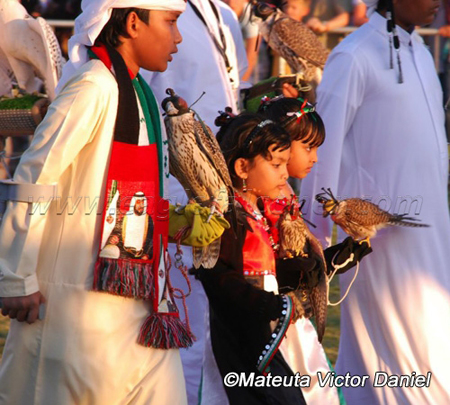 Young UAE girl falconers Festival